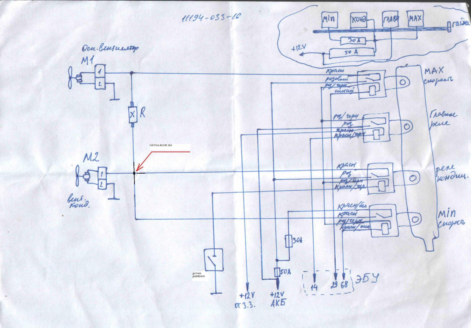 Схема вентиляторов на гранте